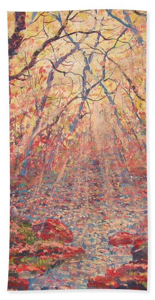 Painting Bath Sheet featuring the painting Sun Rays Through The Trees. by Leonard Holland