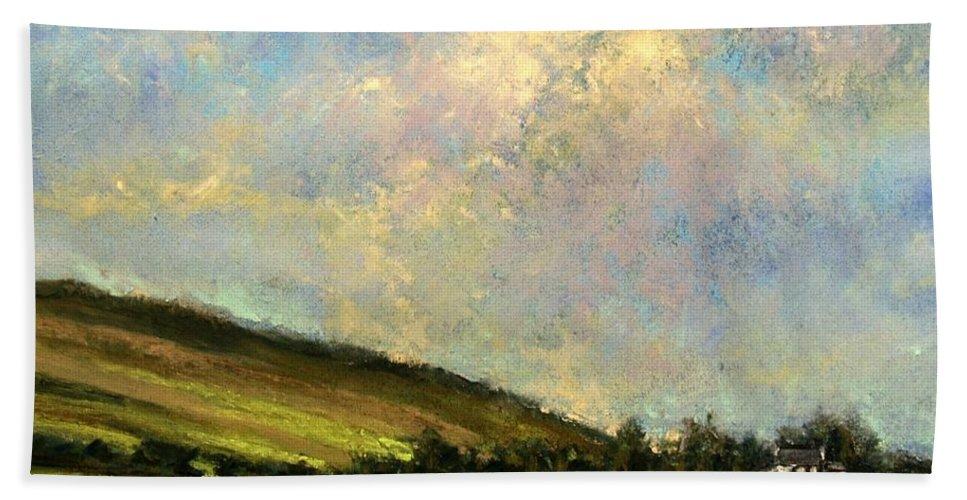 Irish Art Bath Sheet featuring the painting Sun Streak Ireland by Jim Gola