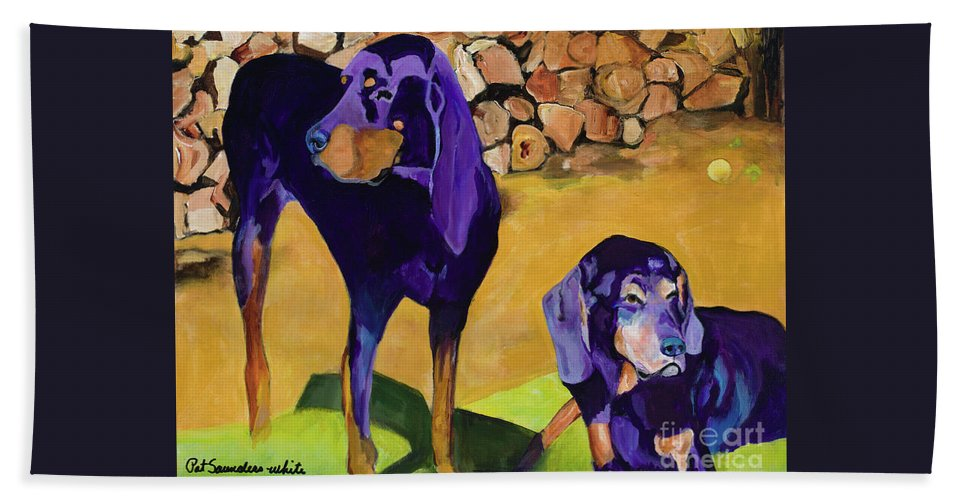 Dogs Hand Towel featuring the painting Sunbath by Pat Saunders-White