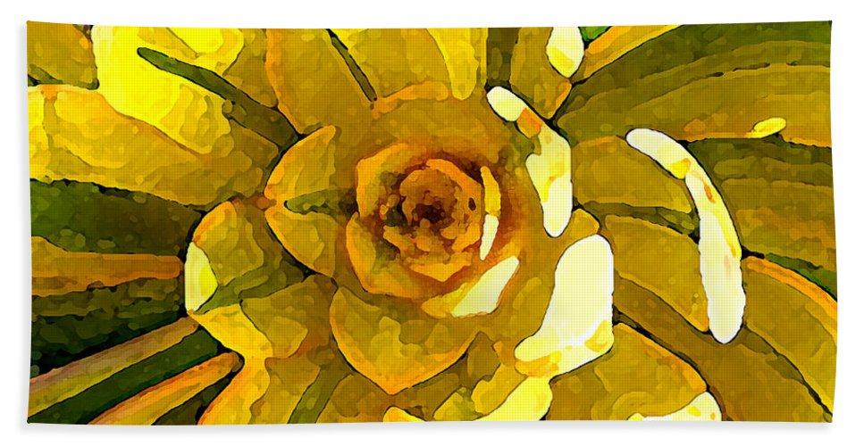 Succulent Bath Sheet featuring the painting Sunburst Succulent Square by Amy Vangsgard