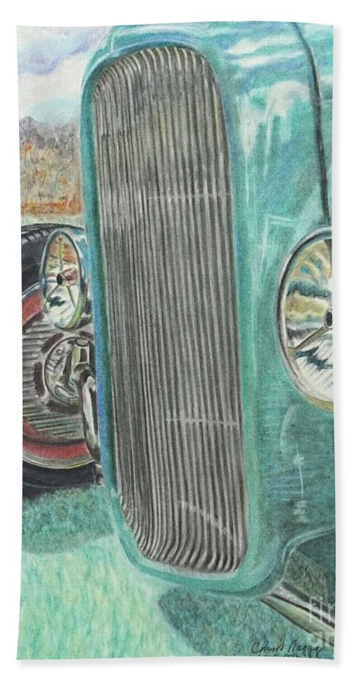 Wall Art Hand Towel featuring the pastel Sunday Best by Chris Naggy