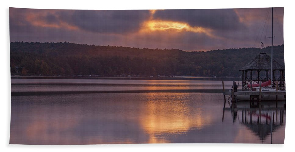 Sunrise Bath Towel featuring the photograph Sunrise Over Meredith Bay - Meredith, NH by Trevor Slauenwhite