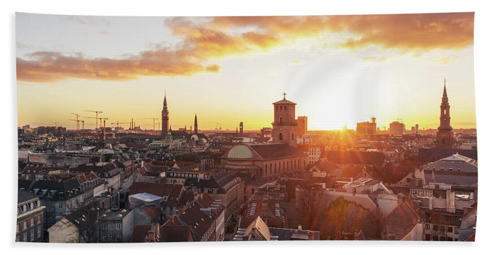 City Hand Towel featuring the photograph Sunset above Copenhagen by Hannes Roeckel