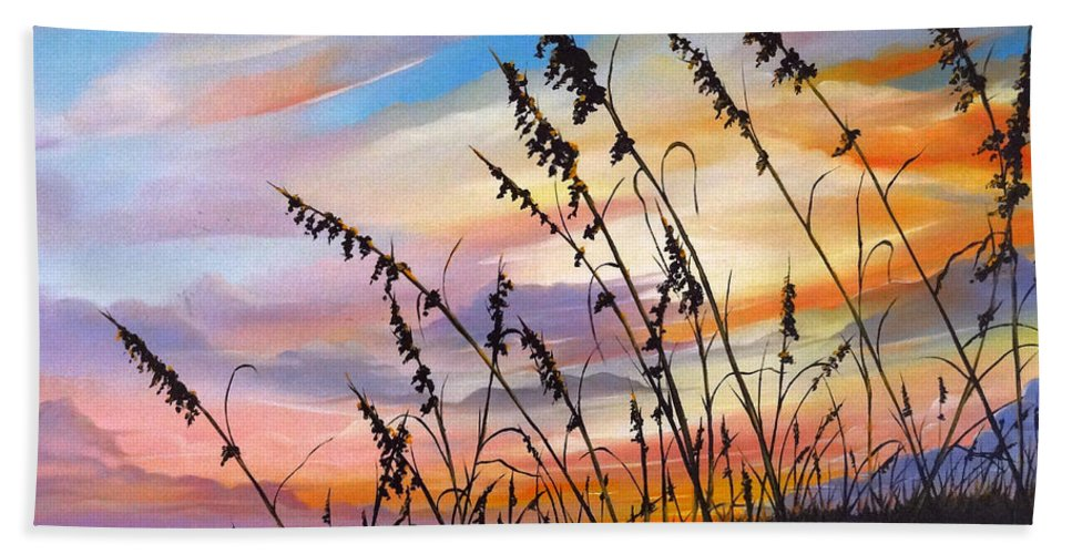 Ocean Painting Hand Towel featuring the painting Sunset Fort Desoto Beach by Karin Dawn Kelshall- Best