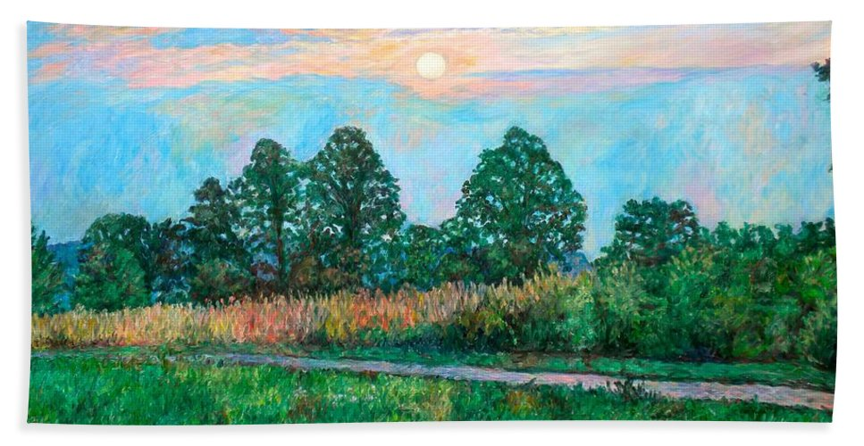 Kendall Kessler Bath Towel featuring the painting Sunset Near Fancy Gap by Kendall Kessler