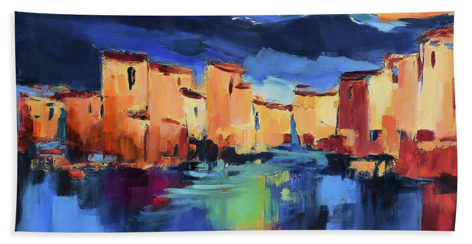 Cinque Terre Bath Towel featuring the painting Sunset Over the Village by Elise Palmigiani