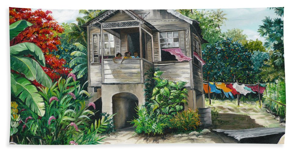 Landscape Painting Caribbean Painting House Painting Tobago Painting Trinidad Painting Tropical Painting Flamboyant Painting Banana Painting Trees Painting Original Painting Of Typical Country House In Trinidad And Tobago Bath Towel featuring the painting Sweet Island Life by Karin Dawn Kelshall- Best