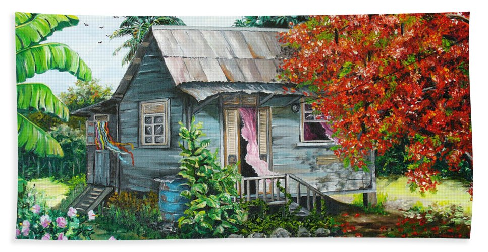 Caribbean Painting Original Painting Trinidad And Tobago ..house Painting Flamboyant Tree Painting Red Blossoms Painting Floral Painting Tree Painting Tropical Painting Bath Towel featuring the painting Sweet Tobago Life. 2 by Karin Dawn Kelshall- Best