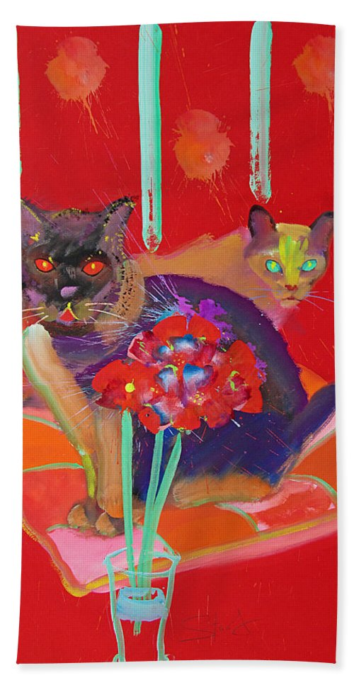 Burmese Cat Hand Towel featuring the painting Symphony In Red Two by Charles Stuart
