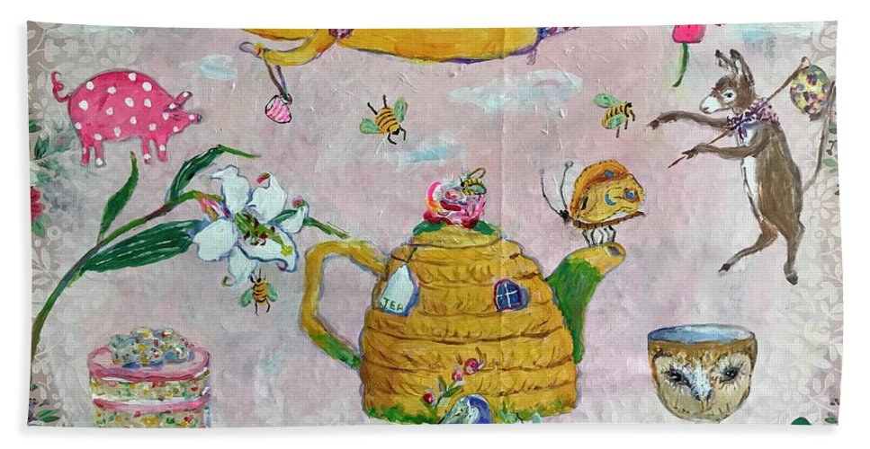 Tea Bath Towel featuring the painting Tea and Cake by Julie Whitmore