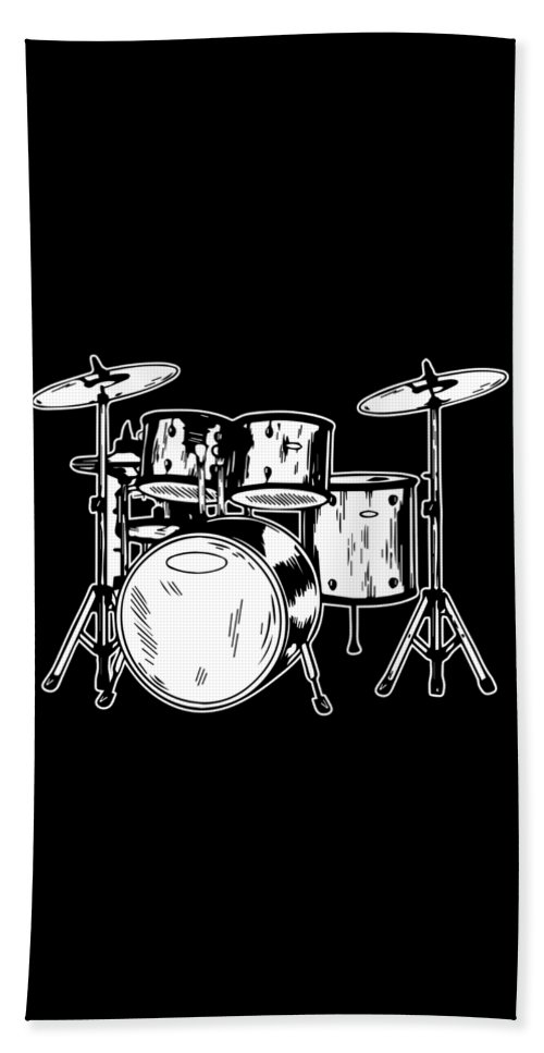 Drummer Bath Towel featuring the digital art Tempo Music Band Percussion Drum Set Drummer Gift by Haselshirt