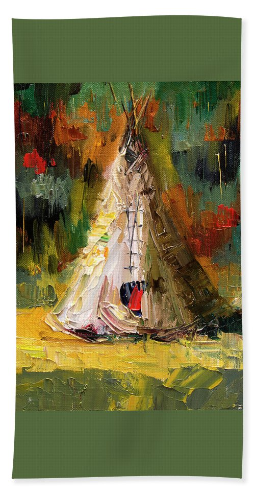 Western Art Bath Towel featuring the painting Tempting Tepee by Diane Whitehead