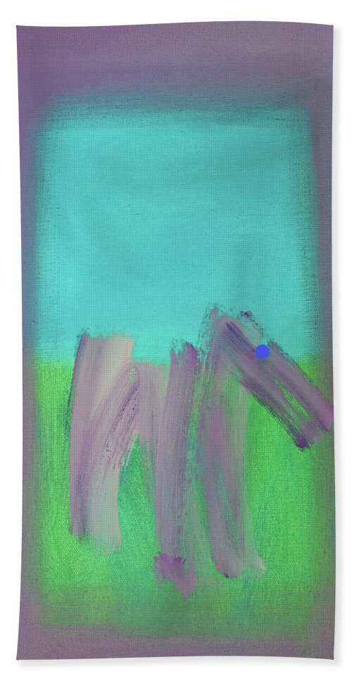 Modern Art Terrier Bath Towel featuring the painting Terrier Field by Charles Stuart