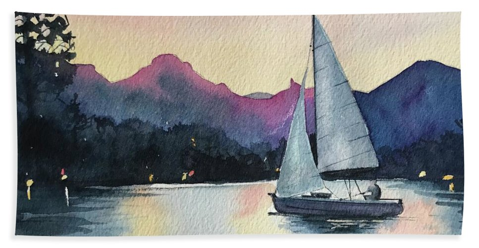 Malibou Lake Bath Towel featuring the painting Terry In his Boat by Luisa Millicent