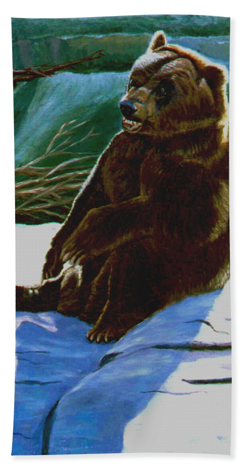 Original Oil On Canvas Hand Towel featuring the painting The Bear by Stan Hamilton