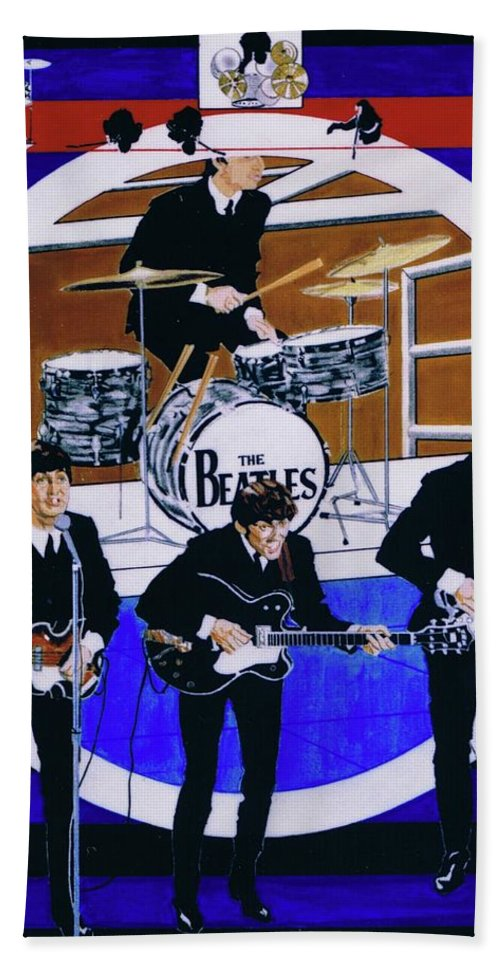 The Beatles Live Hand Towel featuring the drawing The Beatles - Live On The Ed Sullivan Show by Sean Connolly
