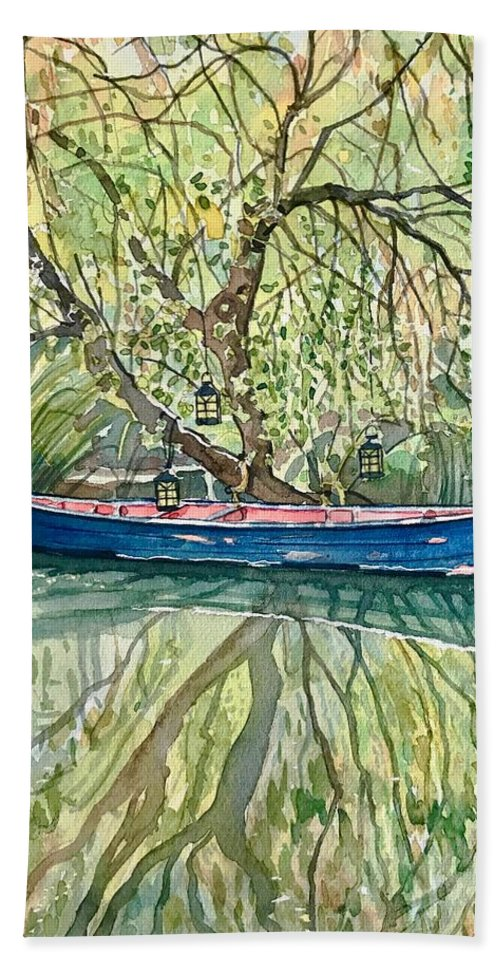 Malibou Lake Bath Towel featuring the painting The Blue Canoe by Luisa Millicent