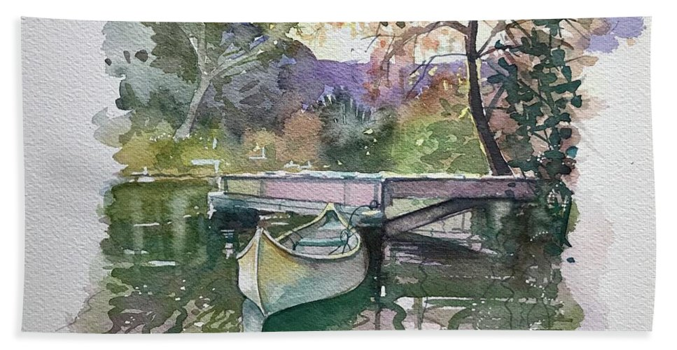 Malibou Lake Bath Towel featuring the painting The Canoe - Fall by Luisa Millicent