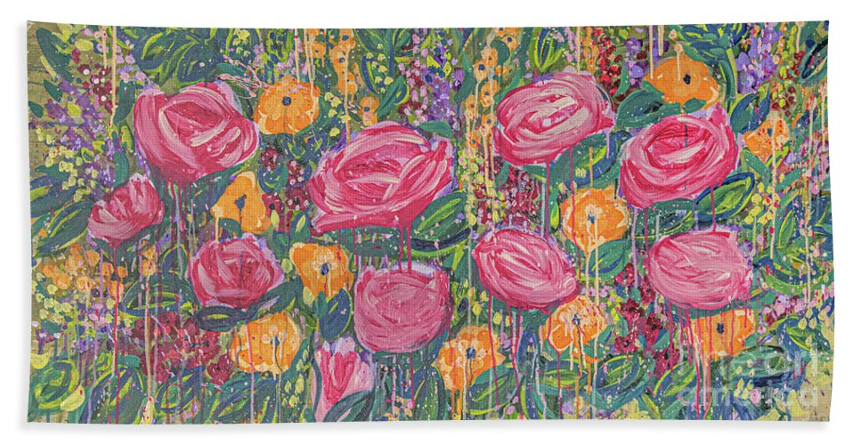 English Garden Bath Towel featuring the painting The Garden by Amanda Armstrong