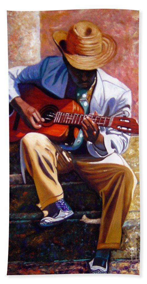 Cuban Art Bath Sheet featuring the painting The Guitar Player by Jose Manuel Abraham