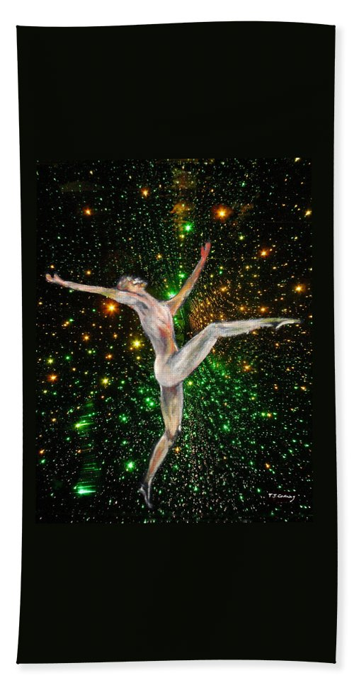 Dance Bath Towel featuring the painting The Light Fantastic Dance and Stars by Tom Conway