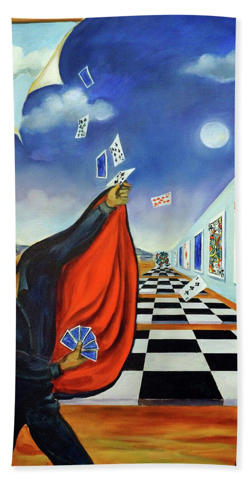 Surreal Landscape Hand Towel featuring the painting The Magician by Valerie Vescovi