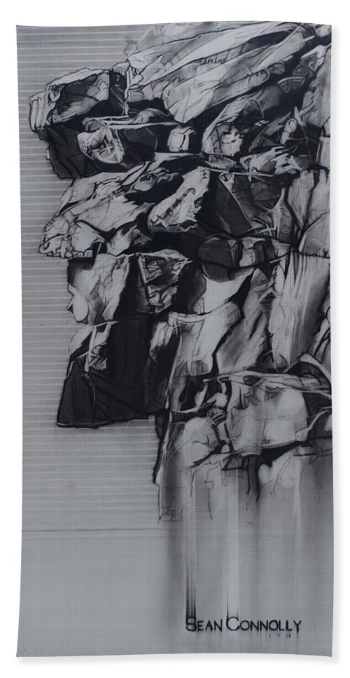 Charcoal Pencil Hand Towel featuring the drawing The Old Man Of The Mountain by Sean Connolly
