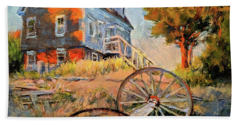 Cape Cod Bath Towel featuring the painting The Old Silva Place No. 2 by Peter Salwen