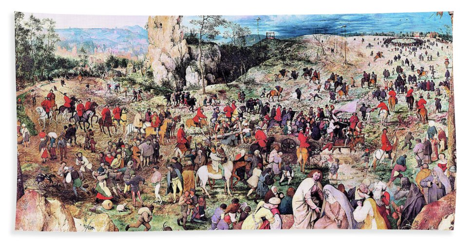 The Procession To Calvary Hand Towel featuring the painting The Procession To Calvary - Digital Remastered Edition by Pieter Bruegel