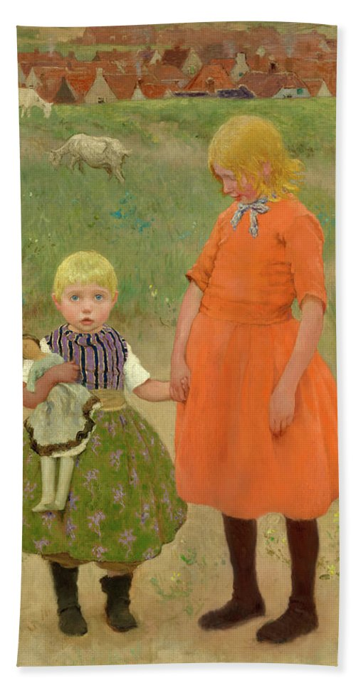 Julius Garibaldi Melchers Hand Towel featuring the painting The Sisters, 1895 by Gari Melchers
