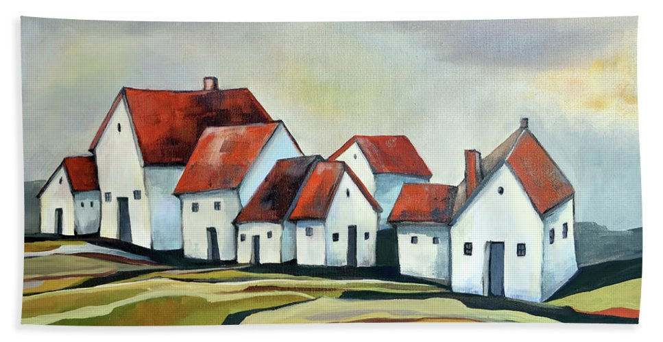 Village Bath Towel featuring the painting The smallest village by Aniko Hencz