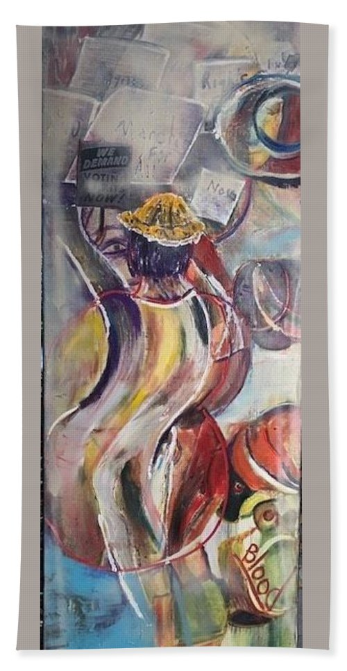Demonstration Bath Towel featuring the painting The Time is Now by Peggy Blood