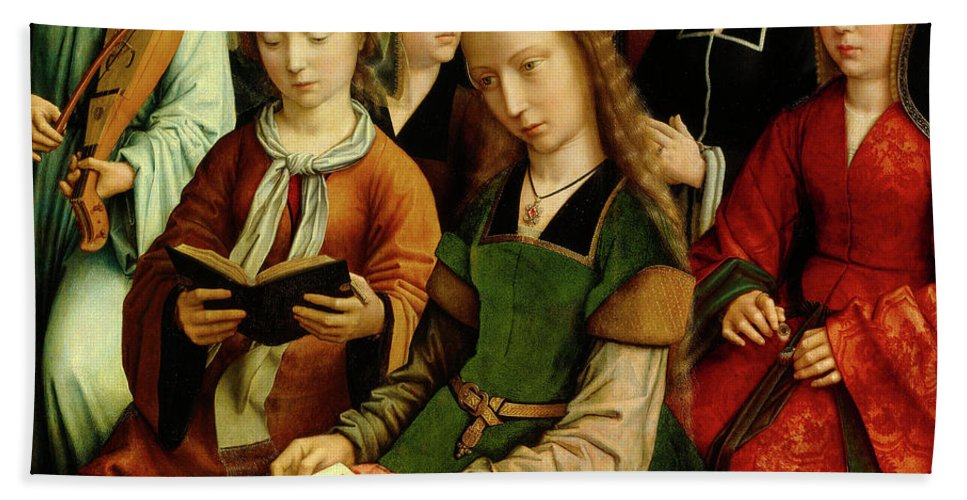 St Hand Towel featuring the painting The Virgin Among The Saints, Detail by Gerard David