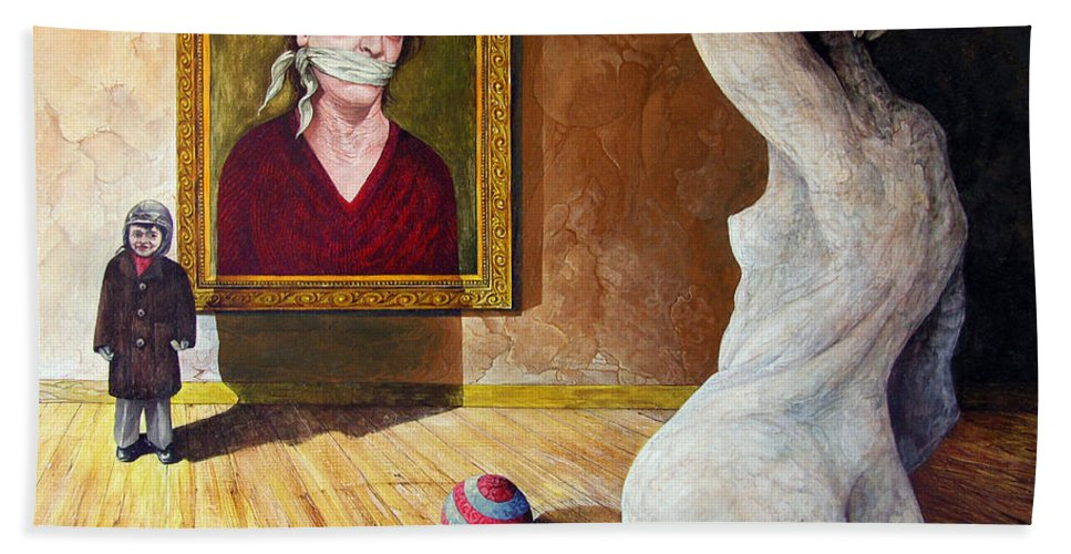 Surrealism Bath Towel featuring the painting The Visitor by Otto Rapp