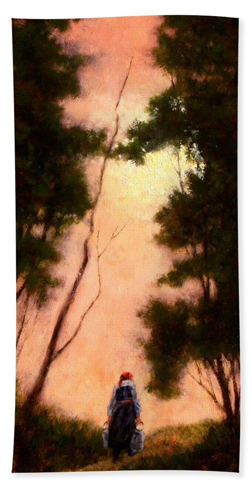 Landscape. Oil Painting Hand Towel featuring the painting The Walk Home by Jim Gola