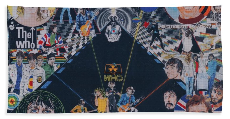 Montage Hand Towel featuring the drawing The Who - Quadrophenia by Sean Connolly