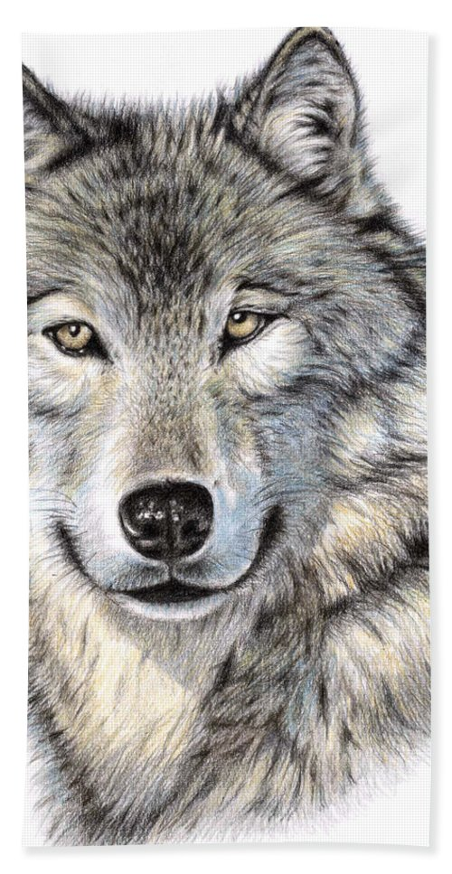 Wolf Hand Towel featuring the drawing The Wolf by Nicole Zeug