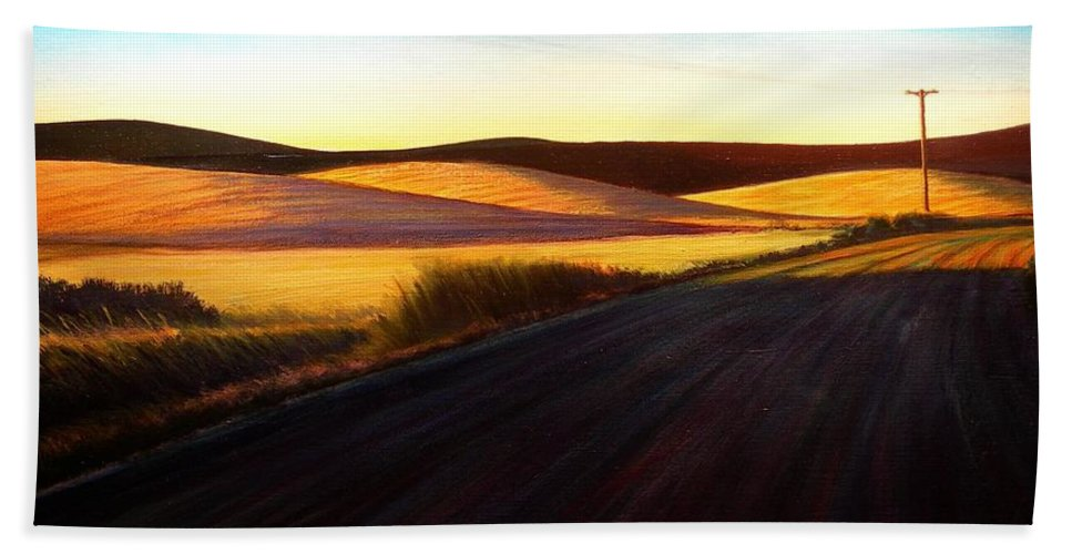 Sunrise Bath Sheet featuring the painting Three Sisters Morning Hills near Genesee Washington by Leonard Heid