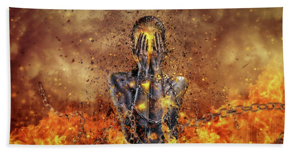 Surreal Hand Towel featuring the digital art Through Ashes Rise by Mario Sanchez Nevado
