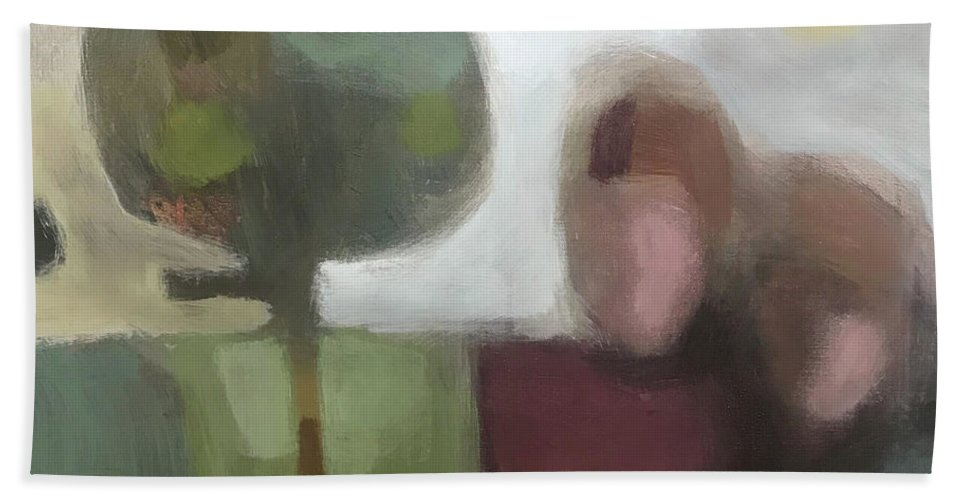 Landscape Bath Towel featuring the painting Together by Farhan Abouassali
