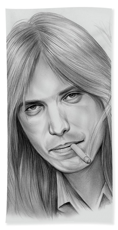 Tom Petty Bath Towel featuring the drawing Tom Petty - Pencil by Greg Joens