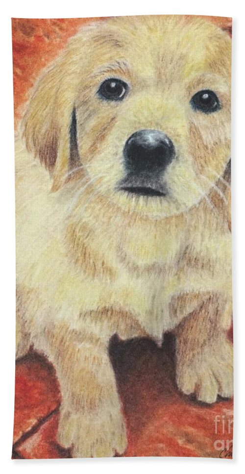Wall Art Hand Towel featuring the pastel Too Cute by Chris Naggy