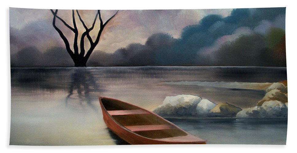 Duck Hand Towel featuring the painting Tranquility by Sergey Bezhinets