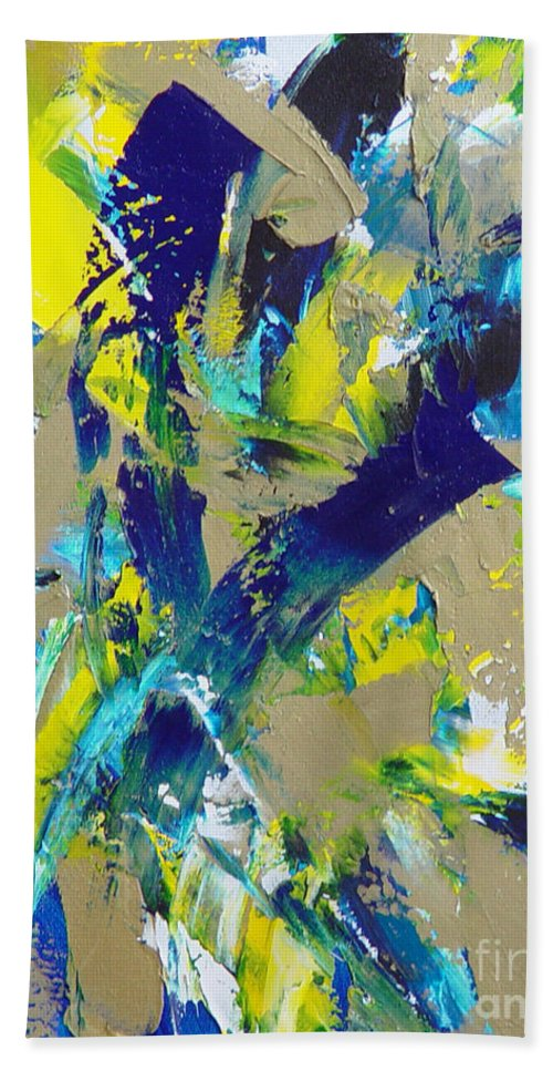Abstract Hand Towel featuring the painting Transitions IX by Dean Triolo