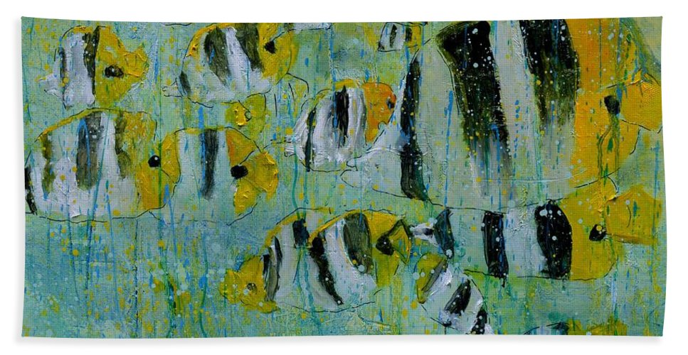 Fish Hand Towel featuring the painting Tropical fish - 77 by Pol Ledent