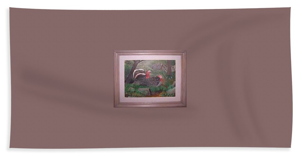 Rick Huotari Hand Towel featuring the painting Turkeys by Rick Huotari