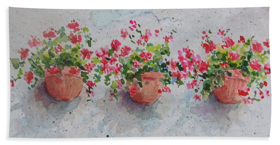 Florals Hand Towel featuring the painting Tuscan Flowers by Mary Ellen Mueller Legault