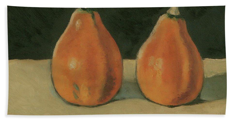 Still-life Pumpkins Orange Hand Towel featuring the painting Two Orange Pumpkins by Raimonda Jatkeviciute-Kasparaviciene