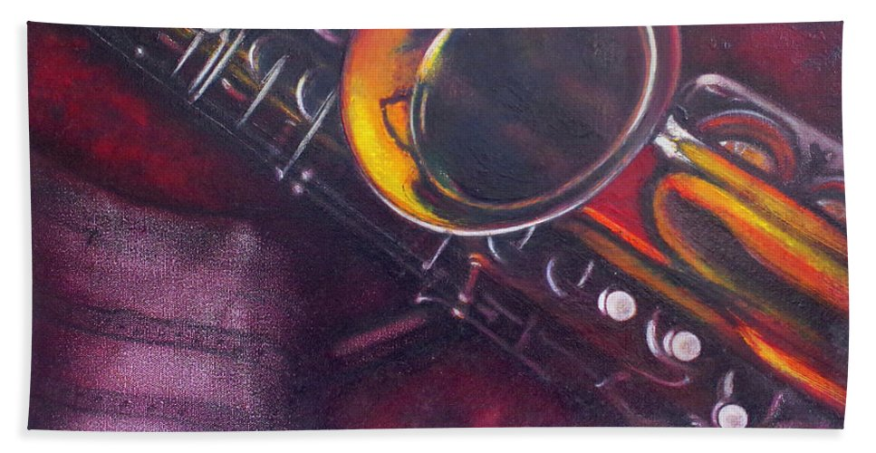 Oil Painting On Canvas Bath Sheet featuring the painting Unprotected Sax by Sean Connolly