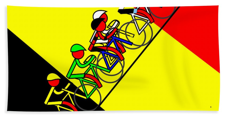 Uphill In Germany Bath Towel featuring the mixed media Uphill in Germany by Asbjorn Lonvig